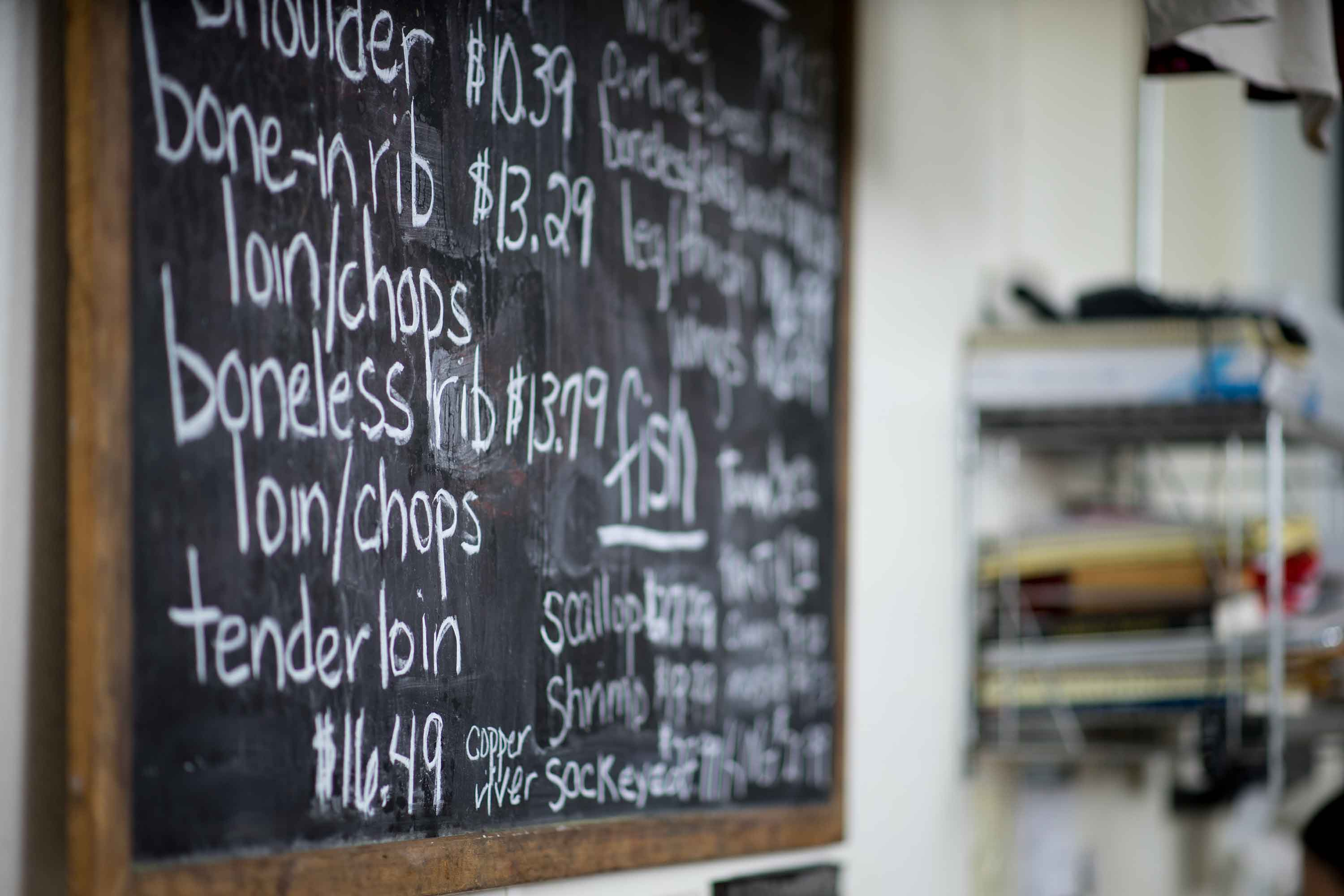 Clancey's Meats and Fish chalkboard menu